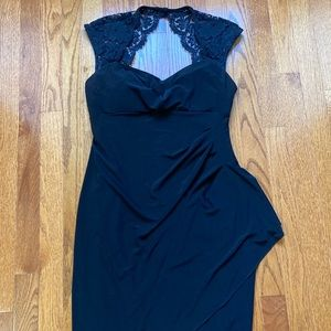 Black Peep Back Lace Dress